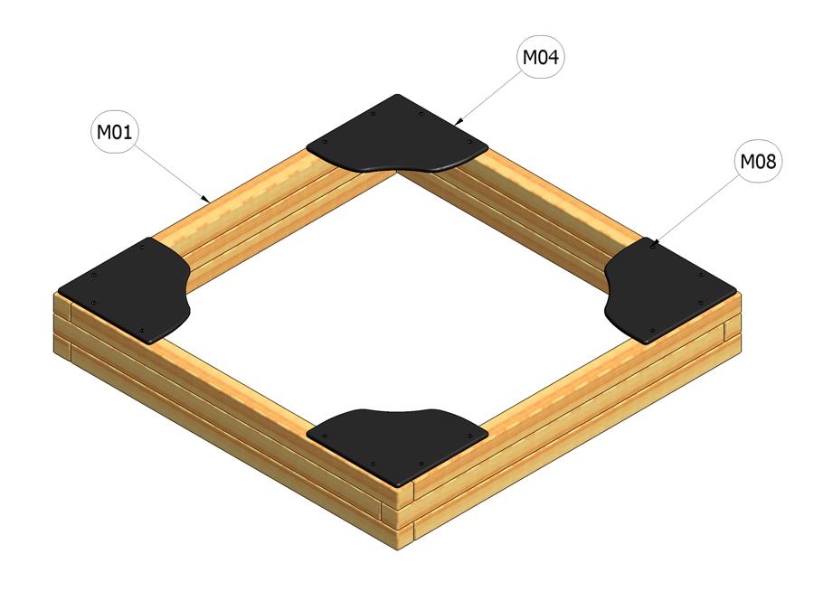 Pískoviště 2 m x 2 m - pouze rám