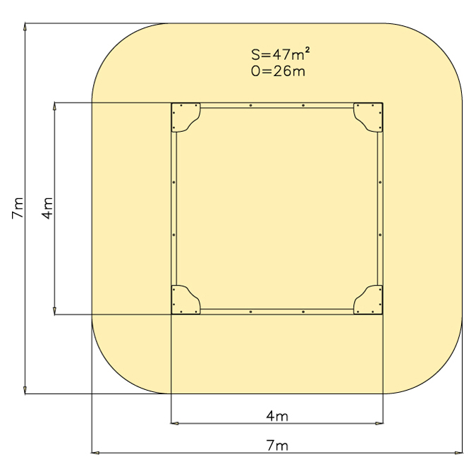 Pískoviště 4 m x 4 m - pouze rám