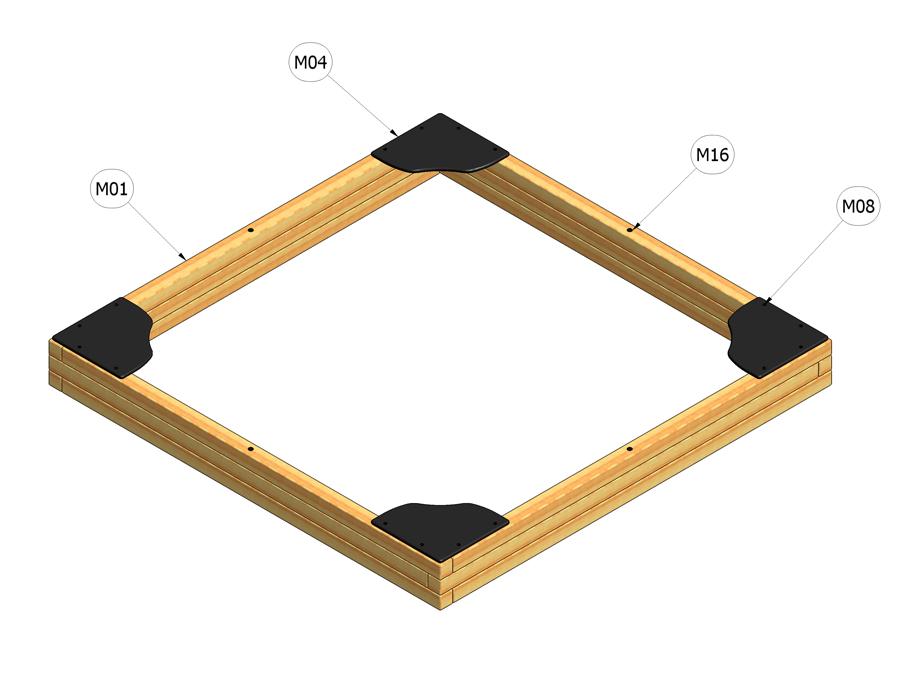 Pískoviště 3 m x 3 m - pouze rám