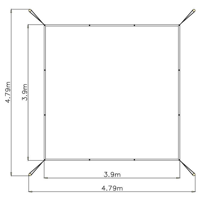 Zastínění pískoviště 4 m x 4 m