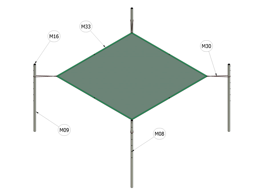 Zastínění pískoviště 3 m x 3 m
