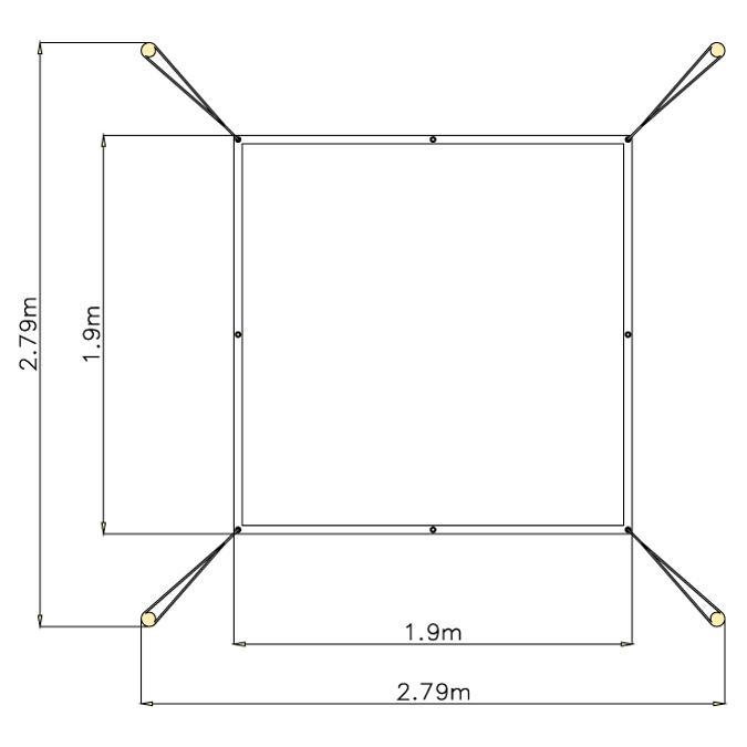Zastínění pískoviště 2 m x 2 m
