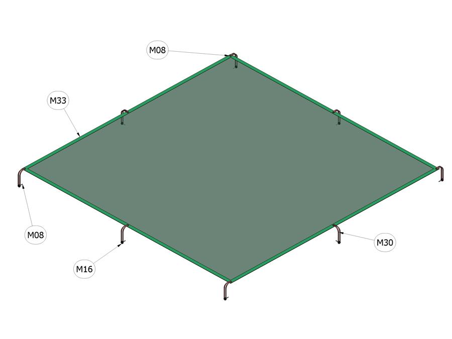 Plachta na zakrytování pískoviště 3 m x 3 m